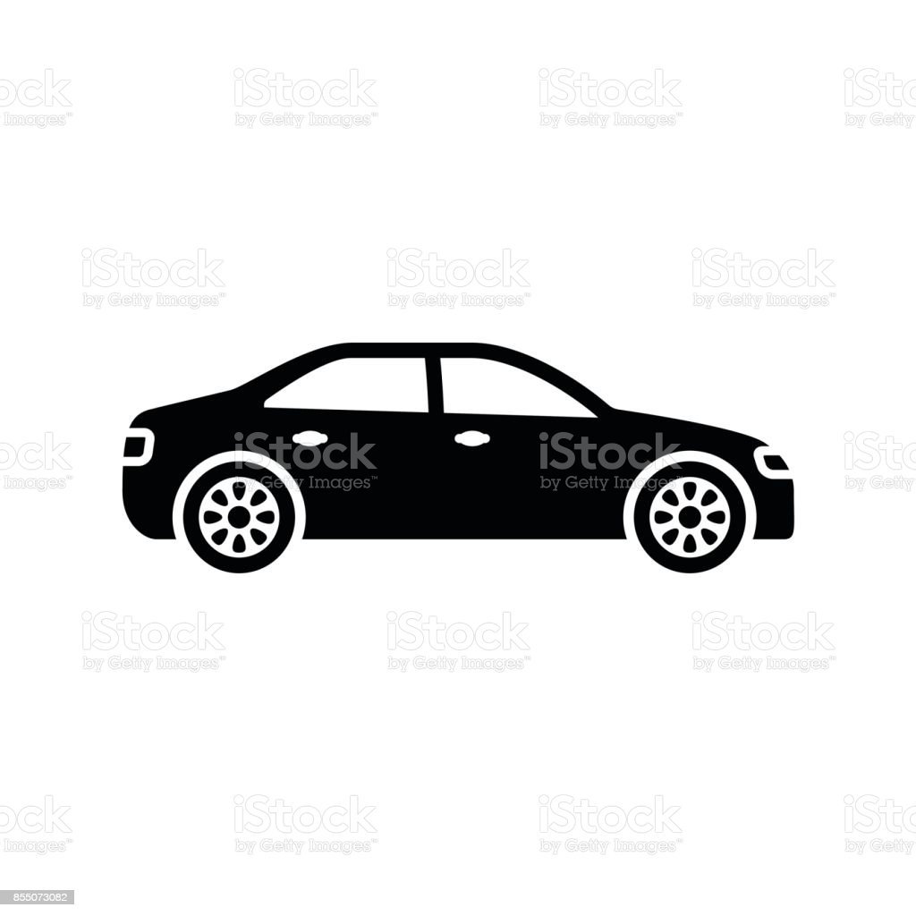 Car icon. Black, minimalist icon isolated on white background. - illustrazione arte vettoriale