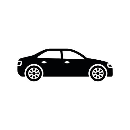 Car Icon Black Minimalist Icon Isolated On White Background Stock Illustration - Download Image Now