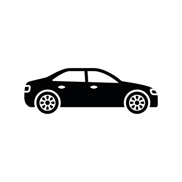 illustrazioni stock, clip art, cartoni animati e icone di tendenza di car icon. black, minimalist icon isolated on white background. - car