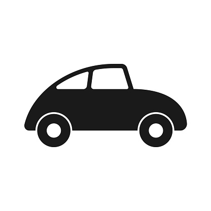 Car icon. Cute cartoon style automobile vector image. Comic transport logo. Funny vintage auto vehicle symbol sign. Black silhouette isolated on white background.