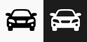 Car Icon on Black and White Vector Backgrounds. This vector illustration includes two variations of the icon one in black on a light background on the left and another version in white on a dark background positioned on the right. The vector icon is simple yet elegant and can be used in a variety of ways including website or mobile application icon. This royalty free image is 100% vector based and all design elements can be scaled to any size.