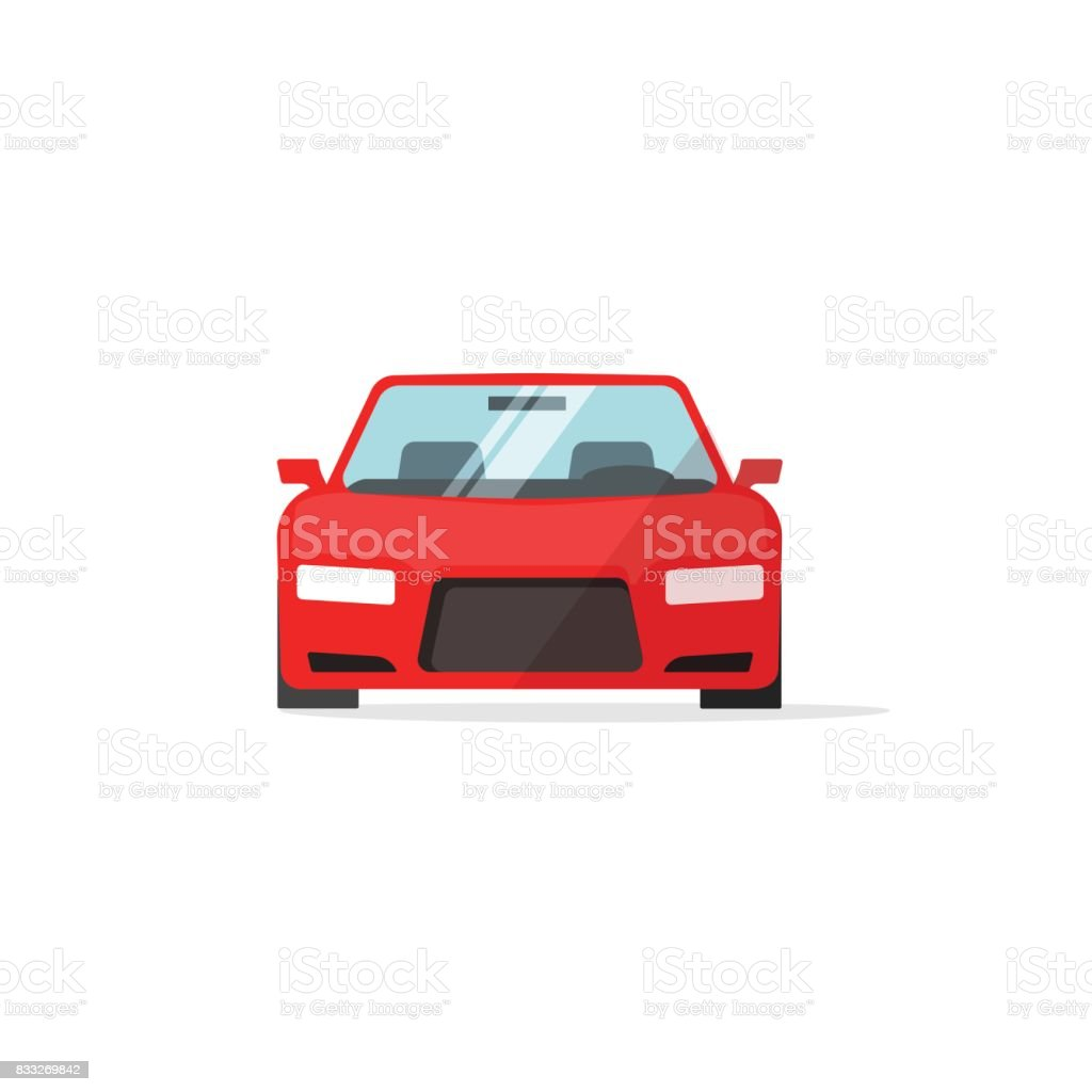 Car icon red color vector, auto isolated, automobile front view - illustrazione arte vettoriale