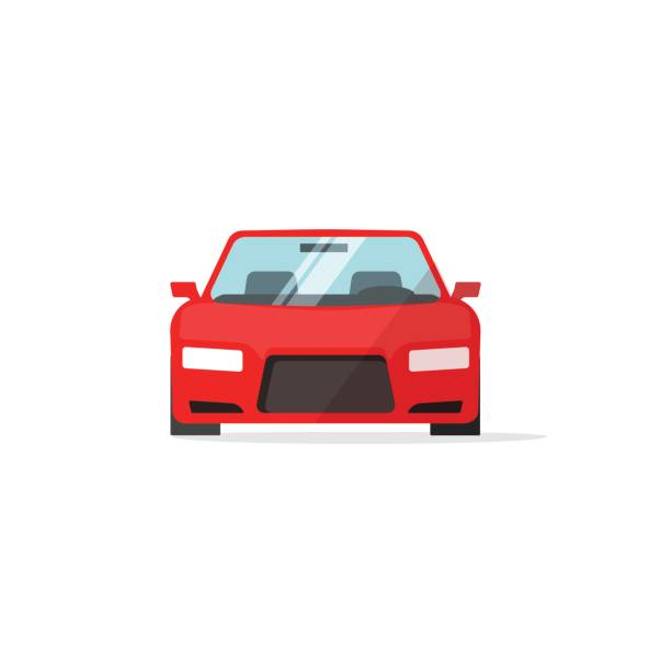 Car icon red color vector, auto isolated, automobile front view vector art illustration