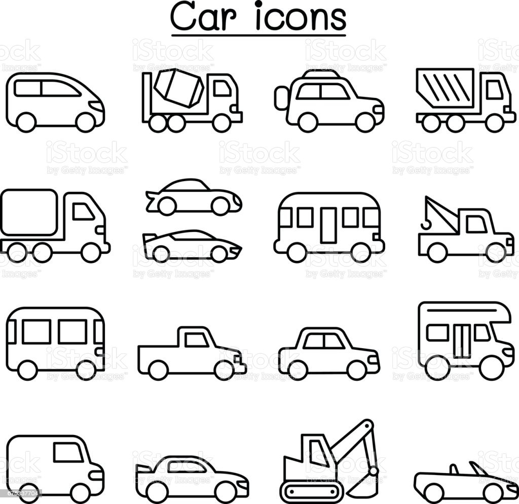 Car icon set in thin line style vector art illustration