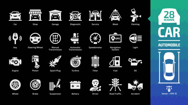 Car icon set on a black background with basic automotive symbols: automobile, auto service, wash & shop, vehicle repair, steering wheel, manual & automatic transmission and more glyph sign. Car icon set on a black background with basic automotive symbols: automobile, auto service, wash & shop, vehicle repair, steering wheel, manual & automatic transmission and more glyph sign. car icons stock illustrations