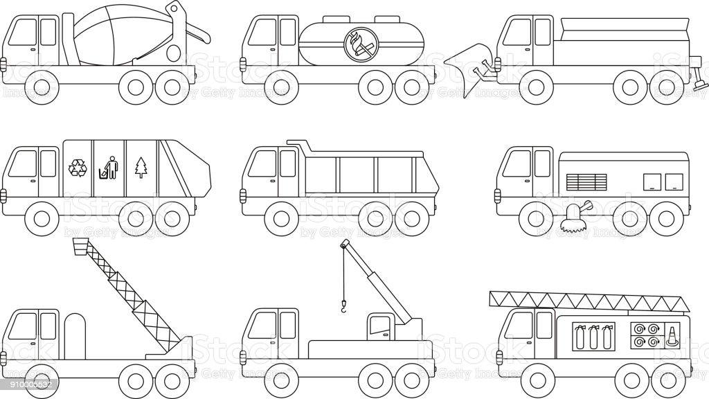 car icon set, outline vector illustration vector art illustration
