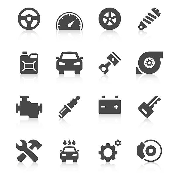 Car Icon Set | Unique Series Set of 16 car vector icons.  tire vehicle part stock illustrations