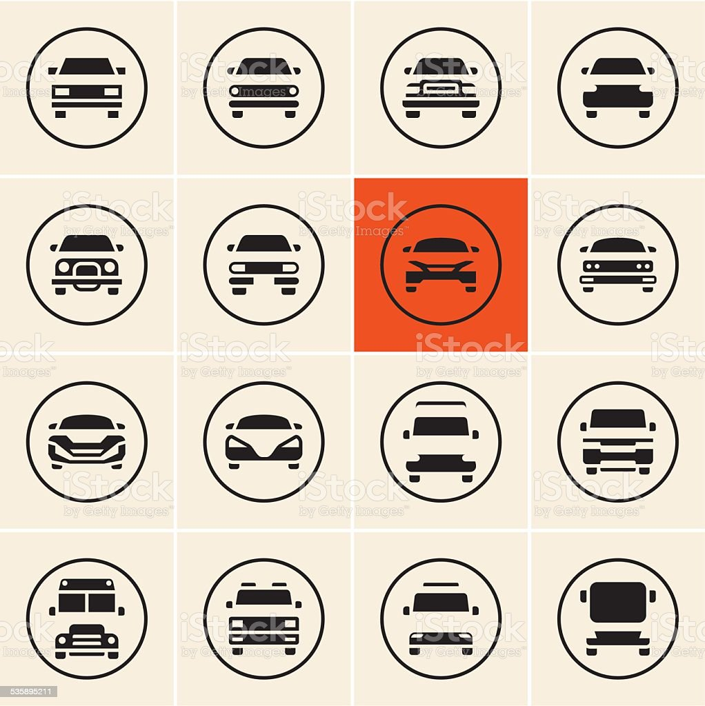 Car Icon Set vector art illustration