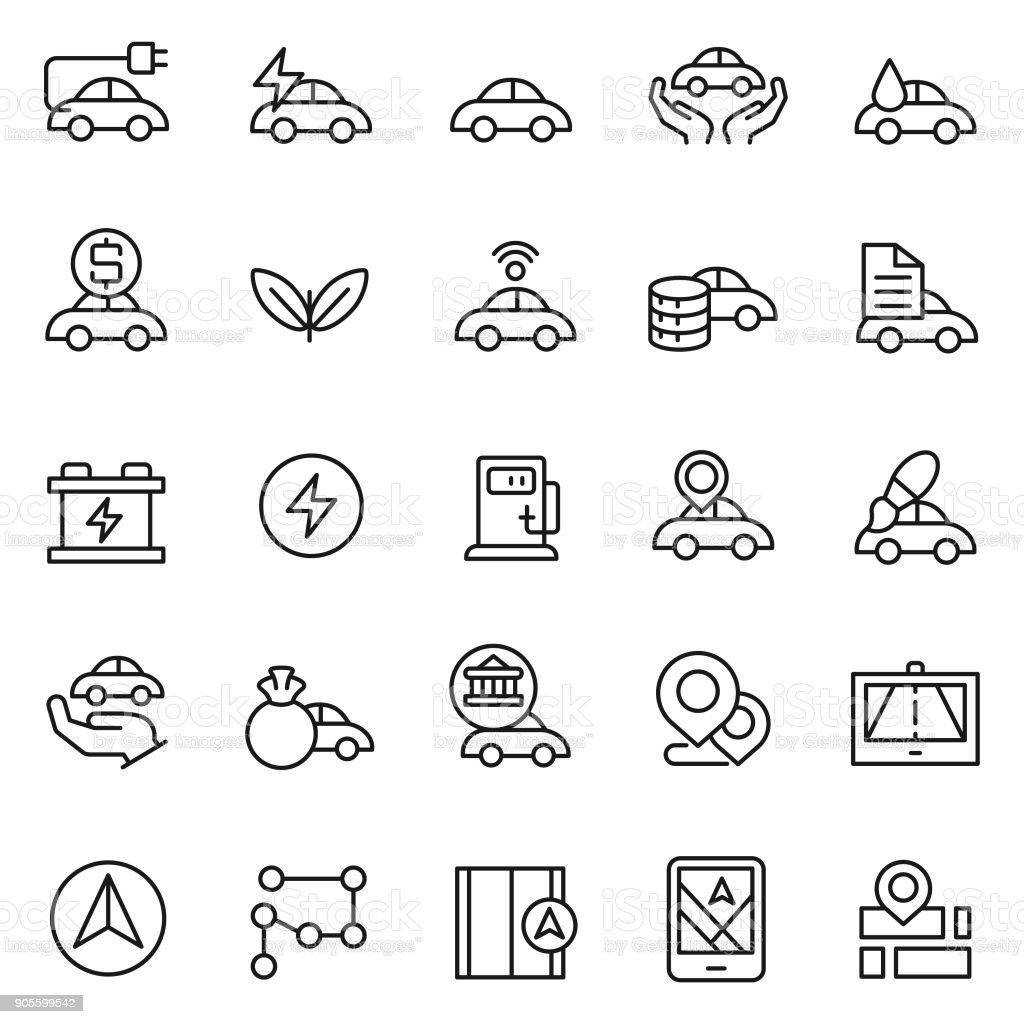 Car icon set vector art illustration