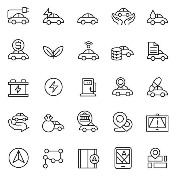 Car icon set Car icon set hybrid car stock illustrations