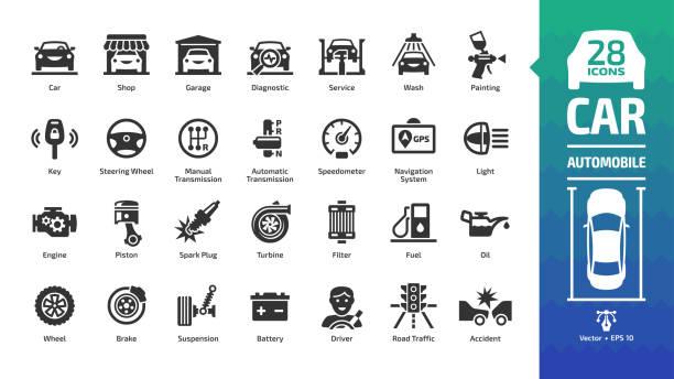 zestaw ikon samochodowych z podstawowymi symbolami motoryzacyjnymi: samochód, serwis samochodowy, myjnia & sklep, naprawa pojazdów, koło & opona, olej & paliwo, silnik, bateria, ruch drogowy, hamulec, świeca zapłonowa i więcej znaku glifowego. - część stock illustrations