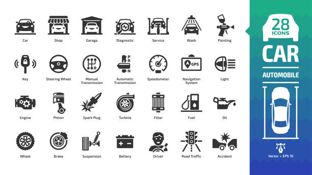 Car icon set with basic automotive symbols: automobile, auto service, wash & shop, vehicle repair, wheel & tire, oil & fuel, engine, battery, road traffic, brake, spark plug and more glyph sign. Car icon set with basic automotive symbols: automobile, auto service, wash & shop, vehicle repair, wheel & tire, oil & fuel, engine, battery, road traffic, brake, spark plug and more glyph sign. vehicle part stock illustrations