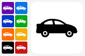 Car Icon Square Button Set. The icon is in black on a white square with rounded corners. The are eight alternative button options on the left in purple, blue, navy, green, orange, yellow, black and red colors. The icon is in white against these vibrant backgrounds. The illustration is flat and will work well both online and in print.