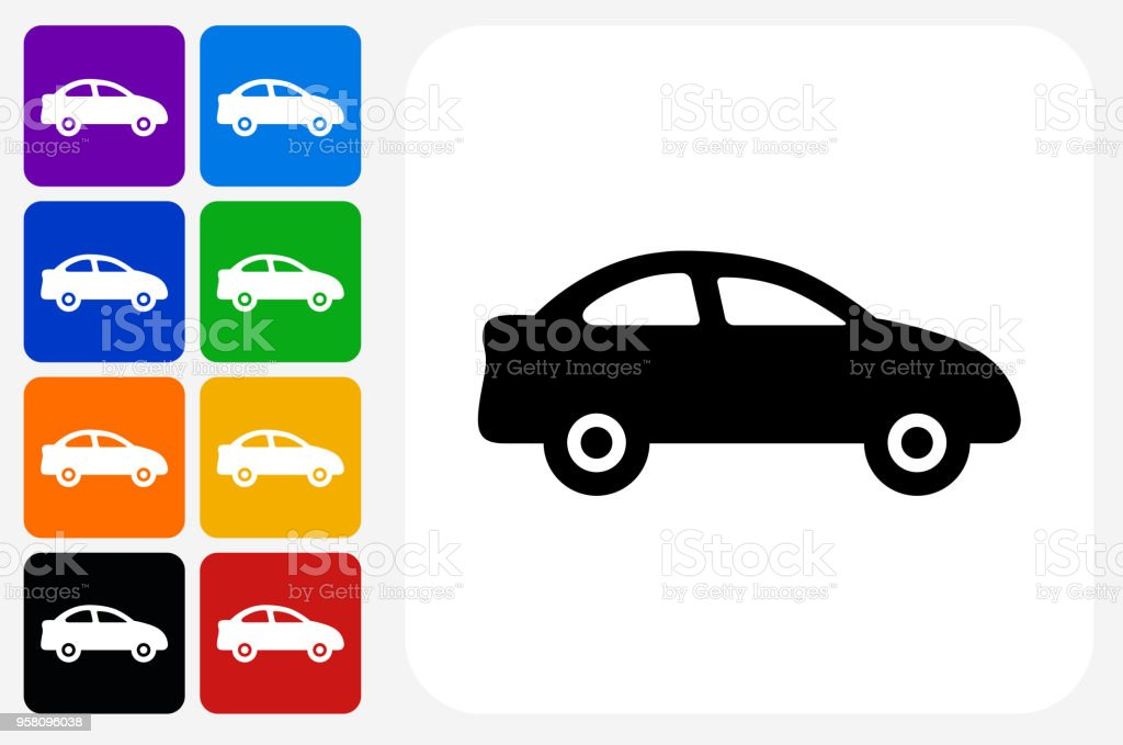Car Icon Square Button Set vector art illustration