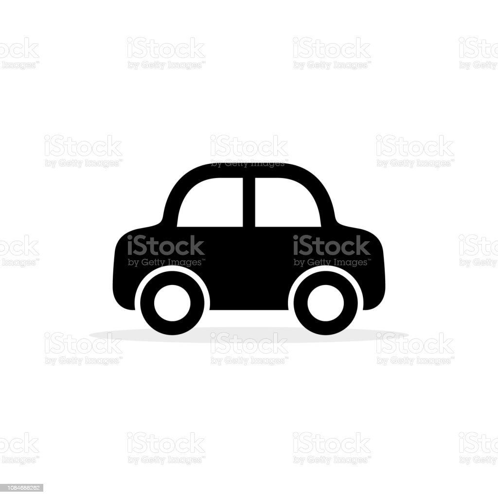 Car icon, vector flat simple cartoon transportation symbol isolated on white. Side view Car icon, vector flat simple cartoon transportation symbol isolated on white. Side view. Abstract stock vector
