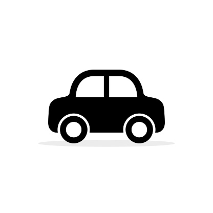 Car icon, vector flat simple cartoon transportation symbol isolated on white. Side view