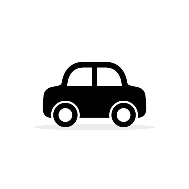 車のアイコン、ベクトル フラット シンプルな漫画交通記号白で隔離。横から見た図 - 車点のイラスト素材/クリップアート素材/マンガ素材/アイコン素材