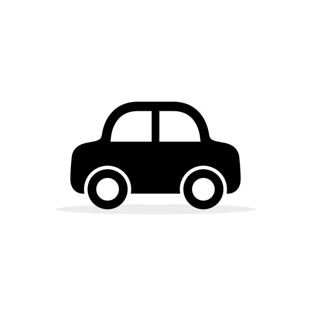 illustrazioni stock, clip art, cartoni animati e icone di tendenza di car icon, vector flat simple cartoon transportation symbol isolated on white. side view - car