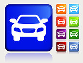 Car Icon. The main icon is placed on a flat blue background. It takes up the center portion of the composition and is the main focus of this vector illustration. The icon is simple and the background further emphasizes the icon shape and makes it stand out. The illustration is a 100% royalty free vector.. The icon is white and is placed on a square blue vector sticker. The button has a sight reflection and the background is light. The composition is simple and elegant. The vector icon is the most prominent part if this illustration. There are eight alternate button variations on the right side of the image. The alternate colors are orange, red, purple, maroon, light blue, green, and blue.