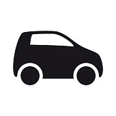 Car flat vector icon on white background. Side view.