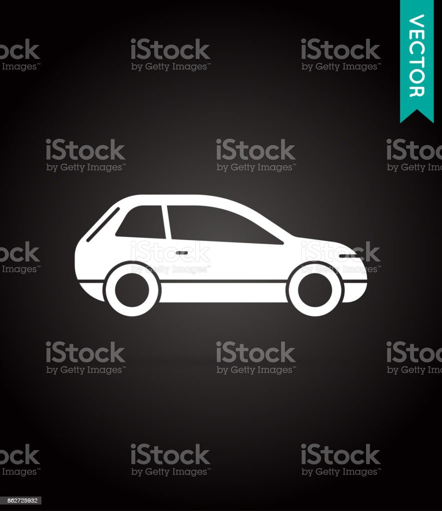 Car Icon Vector White on Black vector art illustration