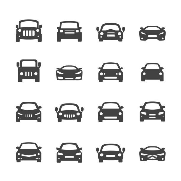 illustrazioni stock, clip art, cartoni animati e icone di tendenza di acme serie di icone-auto - auto