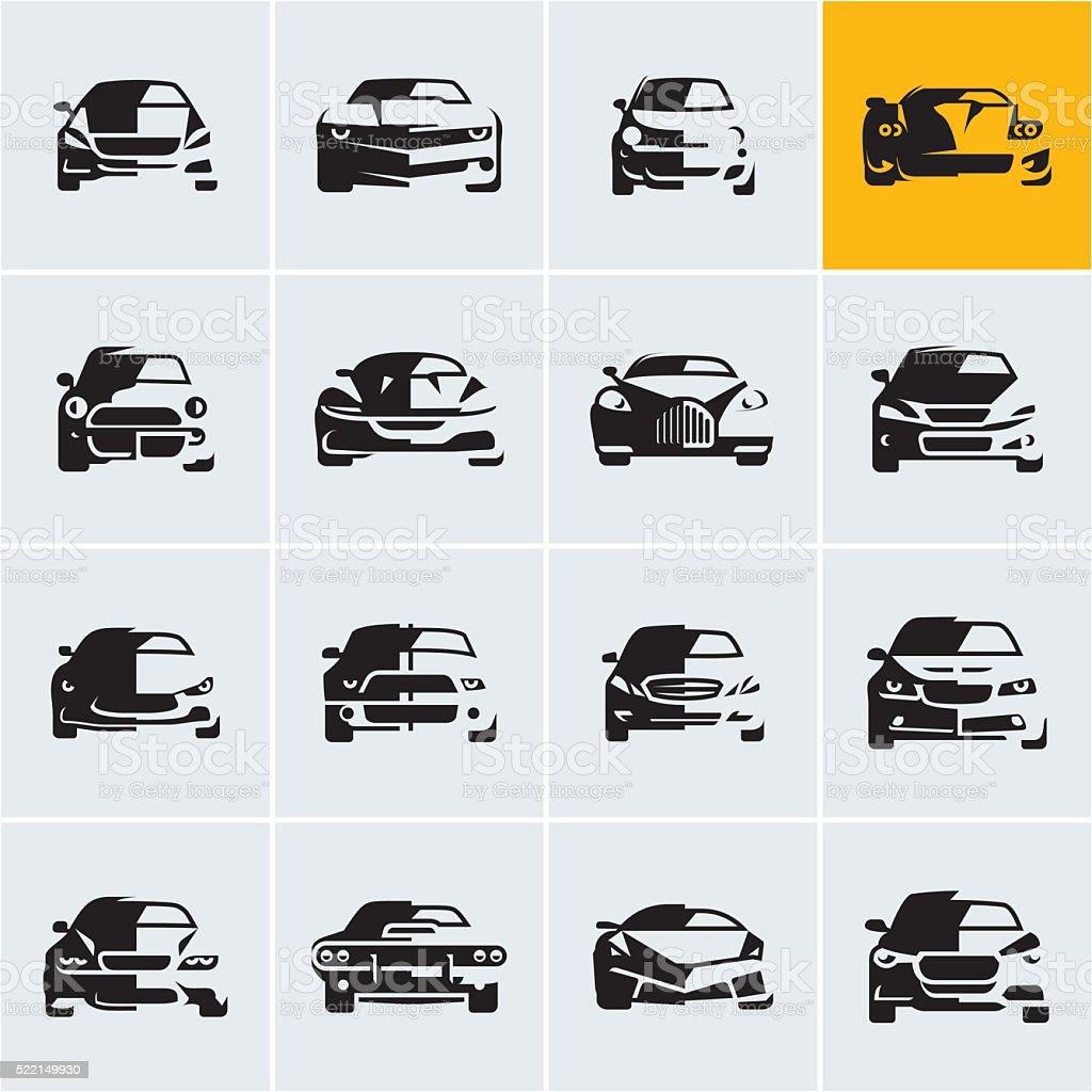 Iconos de coche, siluetas de coche, coche frontal - ilustración de arte vectorial