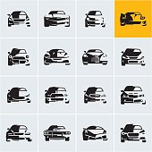 car icons, car silhouettes, car front