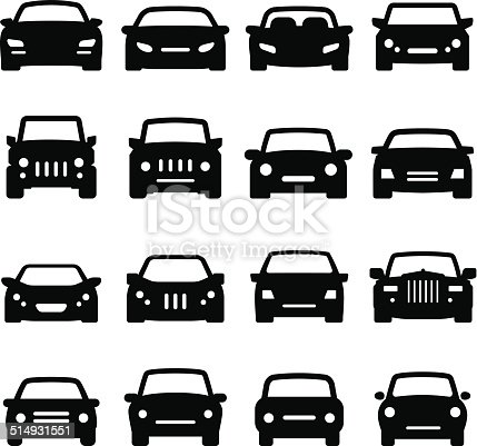 Automobile icons. Vector icons for your print project, app or Web site. See more in this series. What's included in this set: Front view of sports cars, compact cars, off-road vehicles and luxury cars.