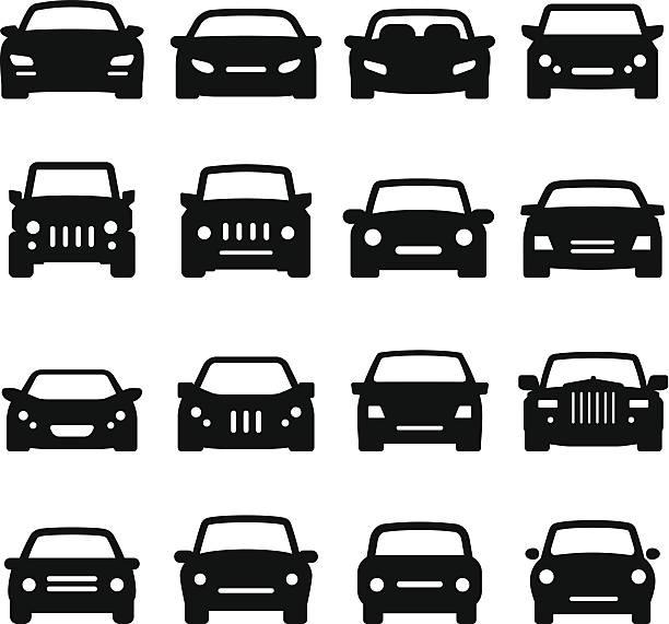 車のアイコン-フロントビュー-ブラックシリーズ - 車点のイラスト素材/クリップアート素材/マンガ素材/アイコン素材