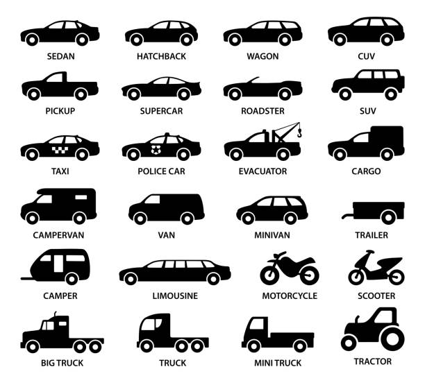Car icons - illustration Vector set of transport models van vehicle stock illustrations