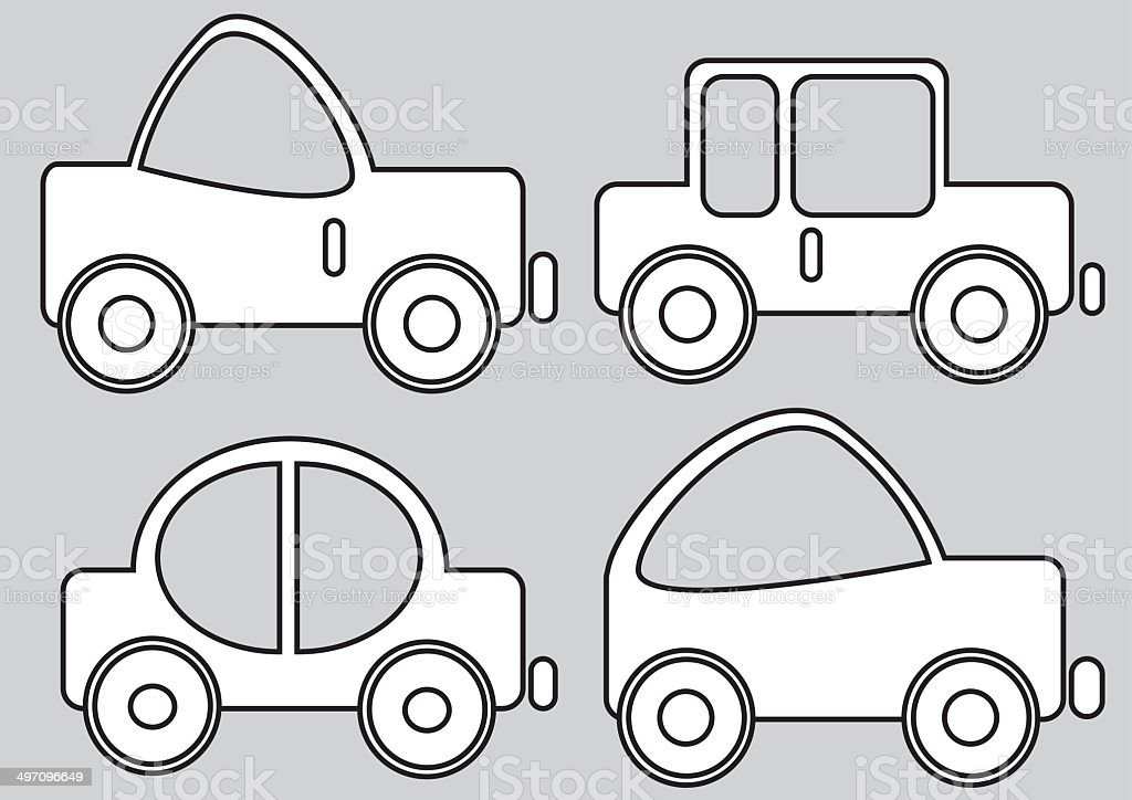 car icons isolated on gray background vector art illustration