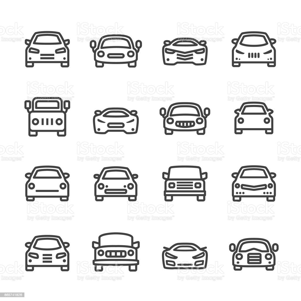 Car Icons - Line Series Car, Mode of Transport, Land Vehicle 4x4 stock vector