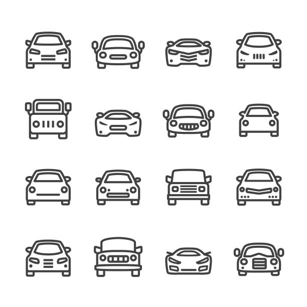 illustrazioni stock, clip art, cartoni animati e icone di tendenza di car icons - line series - car