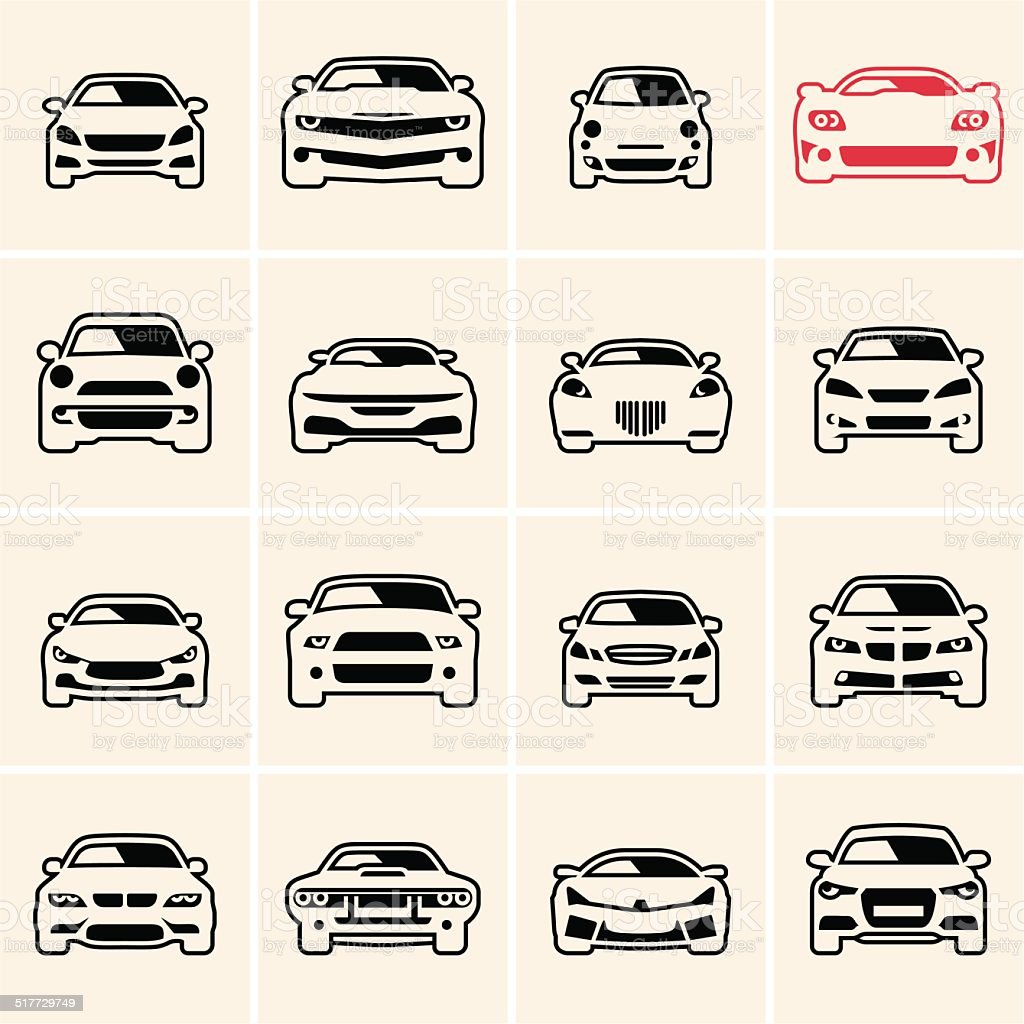 car icons outline vector art illustration