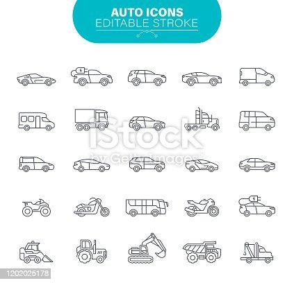 Transportation, Mode of Transport, Car, Pick-up Truck, Van - Vehicle, Land Vehicle, Outline Icon Set