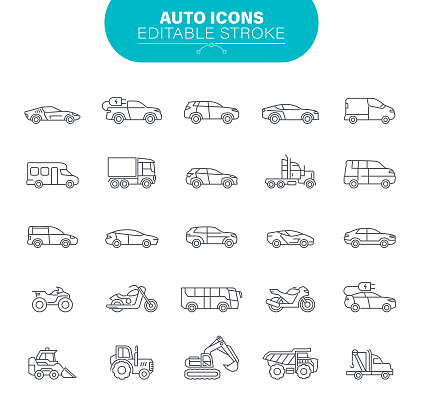 Car Icons. Sedans and SUV vehicles, Road Transport Editable Icon Set