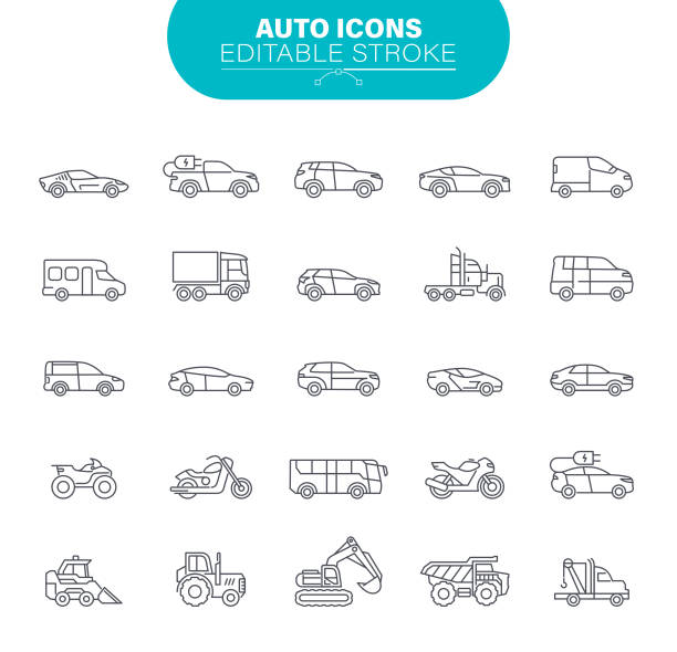 Car Icons. Sedans and SUV vehicles, Road Transport Editable Icon Set vector art illustration