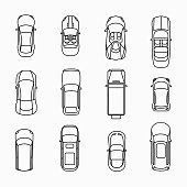 Car icons top view set. Automobile and vehicle, vector illuistration