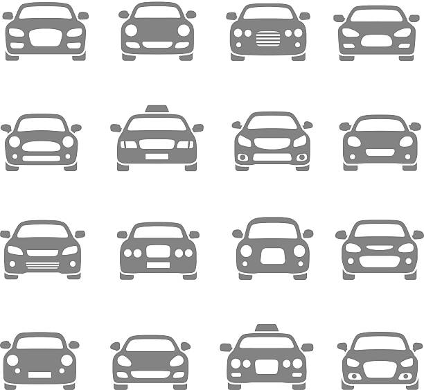 car icons Vector set of different car symbols front view stock illustrations