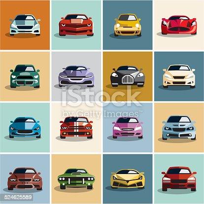 Car icons. Flat style car icon