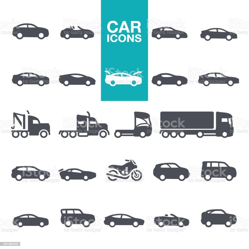 Car icons Mode of Transport, Pick-up Truck, Van - Vehicle, Land Vehicle, Car icons set 4x4 stock vector