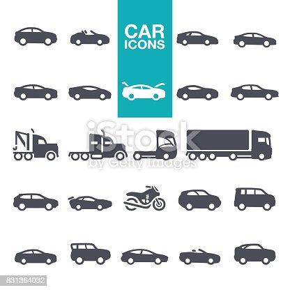 Mode of Transport, Pick-up Truck, Van - Vehicle, Land Vehicle, Car icons set