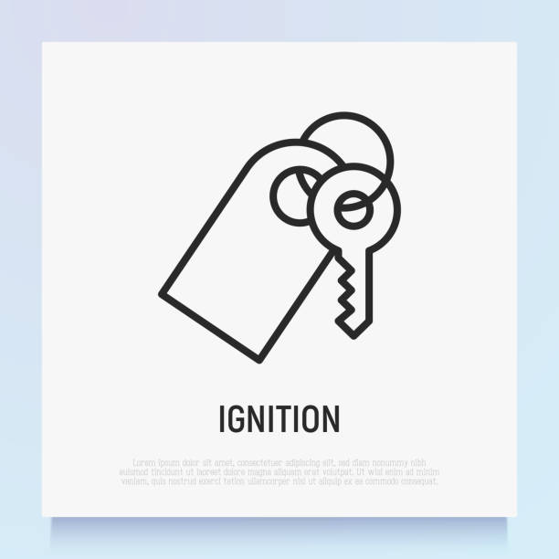 Car ignition thin line icon. Modern vector illustration. Car ignition thin line icon. Modern vector illustration. car key stock illustrations