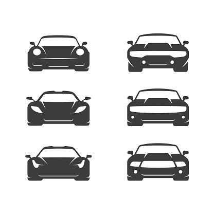 Car illustration set. Flat vector icons on white background