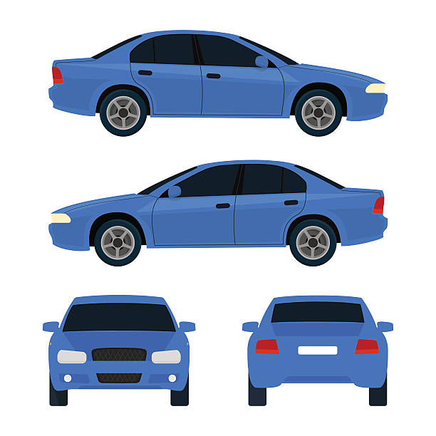 Car illustration Vector city car, four views, top, side, back, front. Car vehicle, car transport. Flat illustration icons. Isolated on white background back stock illustrations