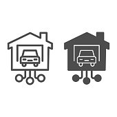 istock Car in garage of house line and solid icon, smart home concept, connecting to transport at home sign on white background, automated vehicle with remote control icon in outline style. Vector graphics. 1226949286