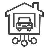 istock Car in garage of house line icon, smart home concept, connecting to transport at home sign on white background, automated vehicle with remote control icon in outline style. Vector graphics. 1227072746