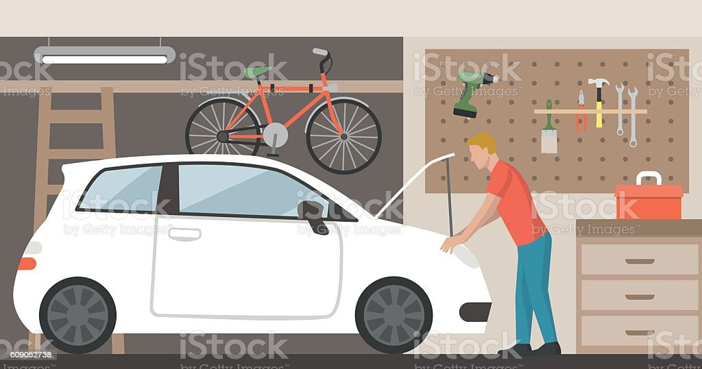 Car in the garage vector art illustration