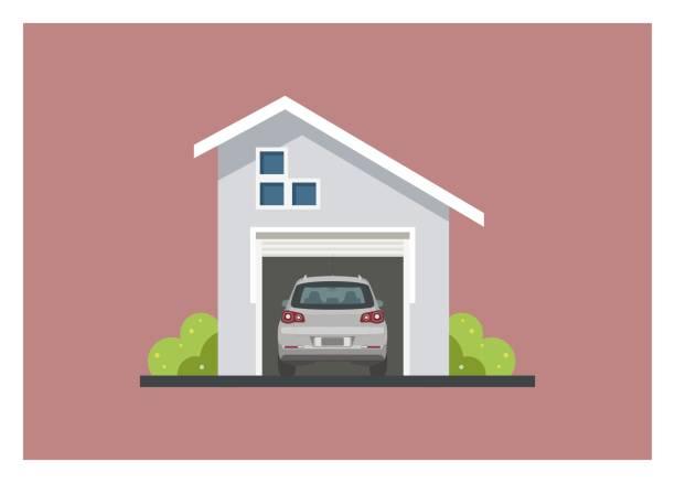 ilustrações de stock, clip art, desenhos animados e ícones de car inside a minimalist garage building. simple illustration - house garage